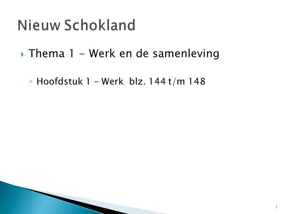  Thema 1 - Werk en de samenleving ◦ Hoofdstuk 1 – Werk blz. 144 t/m 148 1