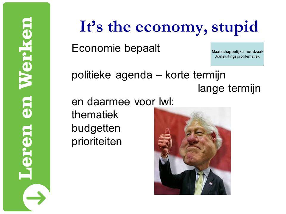 It's the economy, stupid Economie bepaalt politieke agenda – korte termijn lange termijn en daarmee voor lwl: thematiek budgetten prioriteiten Maatsch