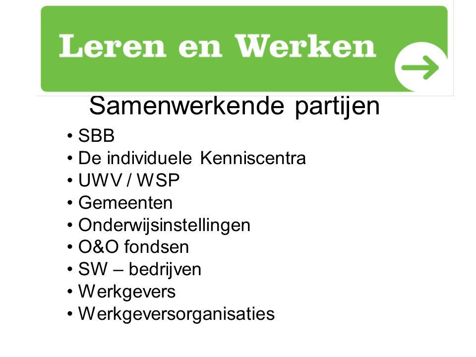 Samenwerkende partijen SBB De individuele Kenniscentra UWV / WSP Gemeenten Onderwijsinstellingen O&O fondsen SW – bedrijven Werkgevers Werkgeversorgan