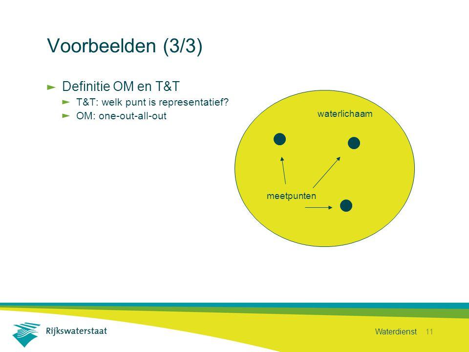 Waterdienst 11 Voorbeelden (3/3) Definitie OM en T&T T&T: welk punt is representatief? OM: one-out-all-out waterlichaam meetpunten