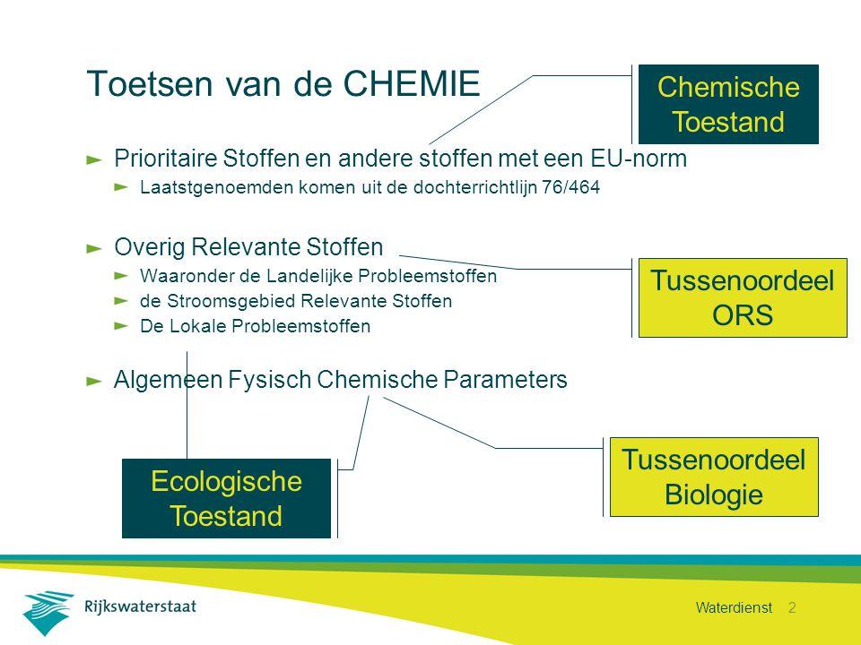 Waterdienst 2 Toetsen van de CHEMIE Prioritaire Stoffen en andere stoffen met een EU-norm Laatstgenoemden komen uit de dochterrichtlijn 76/464 Overig