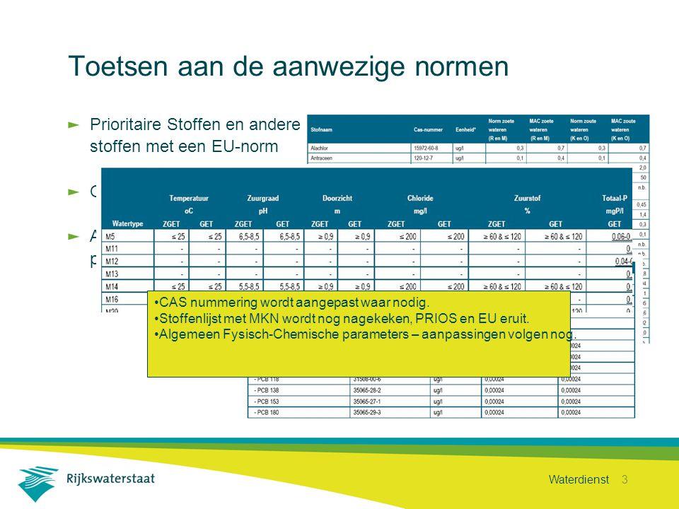 Waterdienst 3 Toetsen aan de aanwezige normen Prioritaire Stoffen en andere stoffen met een EU-norm Overige Relevante Stoffen Algemeen fysisch-chemische parameters CAS nummering wordt aangepast waar nodig.