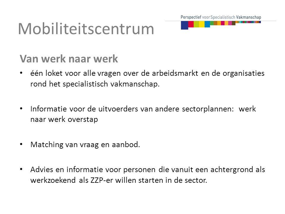 Mobiliteitscentrum Van werk naar werk één loket voor alle vragen over de arbeidsmarkt en de organisaties rond het specialistisch vakmanschap. Informat
