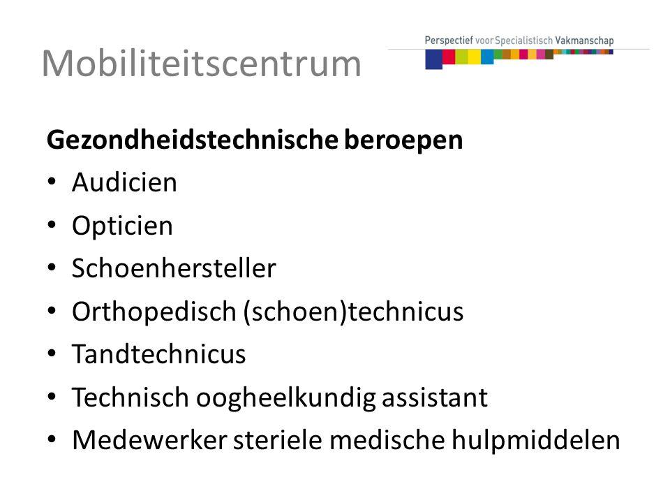 Gezondheidstechnische beroepen Audicien Opticien Schoenhersteller Orthopedisch (schoen)technicus Tandtechnicus Technisch oogheelkundig assistant Medew