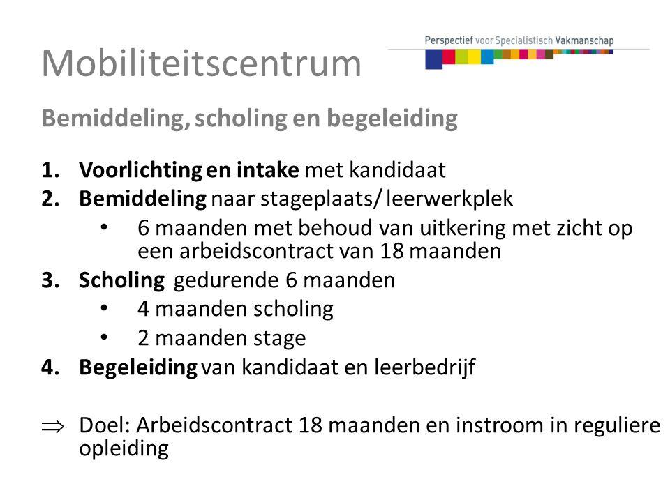 Mobiliteitscentrum Bemiddeling, scholing en begeleiding 1.Voorlichting en intake met kandidaat 2.Bemiddeling naar stageplaats/ leerwerkplek 6 maanden