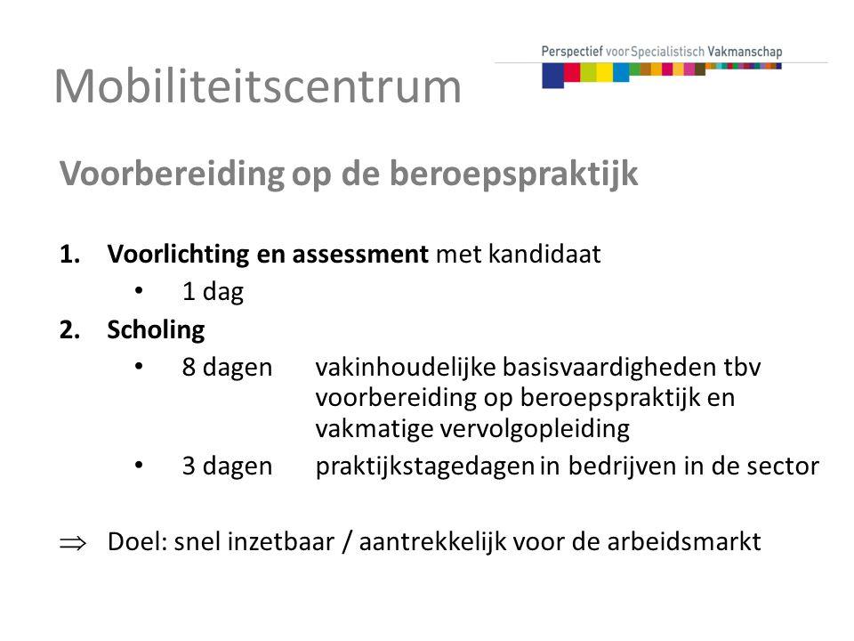 Mobiliteitscentrum Voorbereiding op de beroepspraktijk 1.Voorlichting en assessment met kandidaat 1 dag 2.Scholing 8 dagen vakinhoudelijke basisvaardi