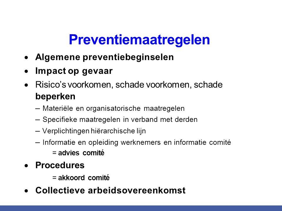 Preventiemaatregelen  Algemene preventiebeginselen  Impact op gevaar  Risico's voorkomen, schade voorkomen, schade beperken – Materiële en organisa