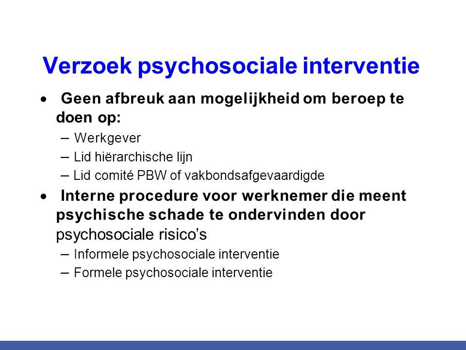 Verzoek psychosociale interventie  Geen afbreuk aan mogelijkheid om beroep te doen op: – Werkgever – Lid hiërarchische lijn – Lid comité PBW of vakbo