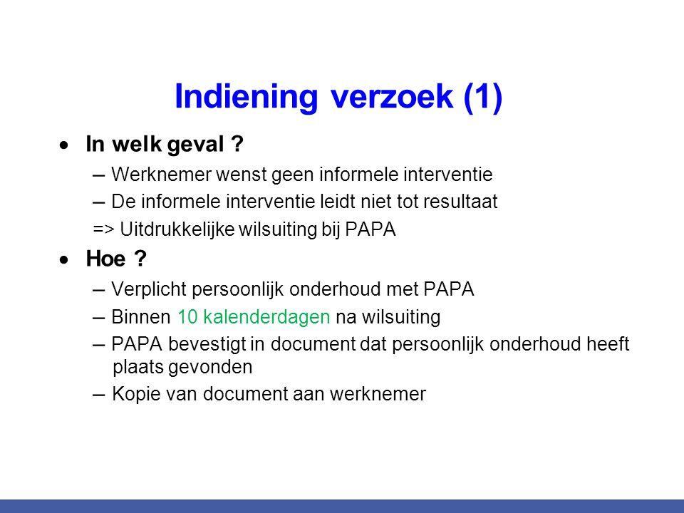 Indiening verzoek (1)  In welk geval ? – Werknemer wenst geen informele interventie – De informele interventie leidt niet tot resultaat => Uitdrukkel