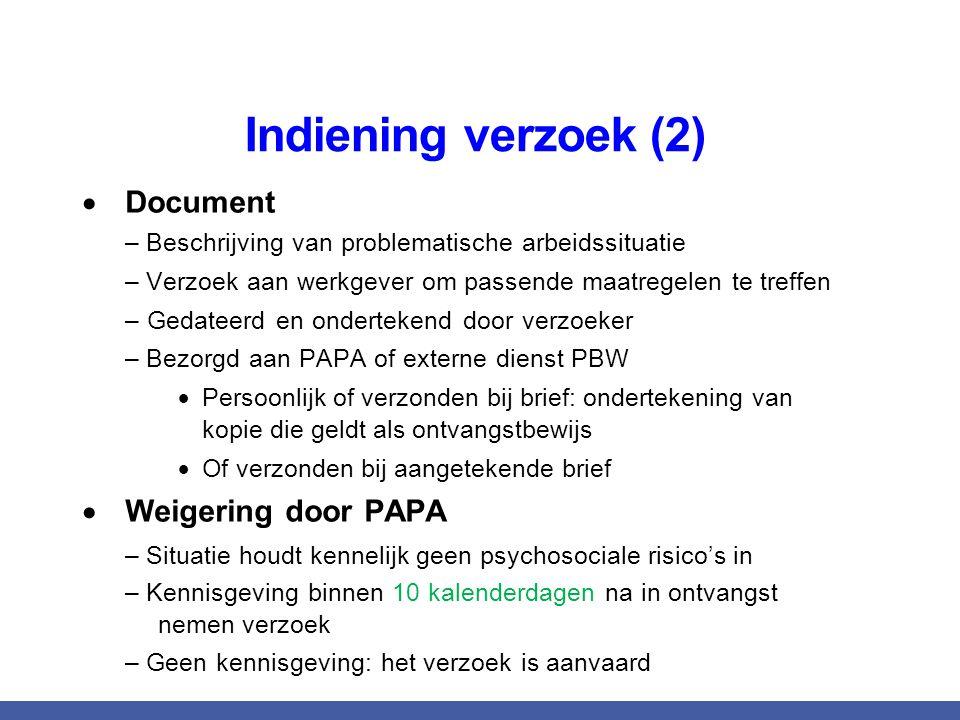 Indiening verzoek (2)  Document – Beschrijving van problematische arbeidssituatie – Verzoek aan werkgever om passende maatregelen te treffen – Gedate