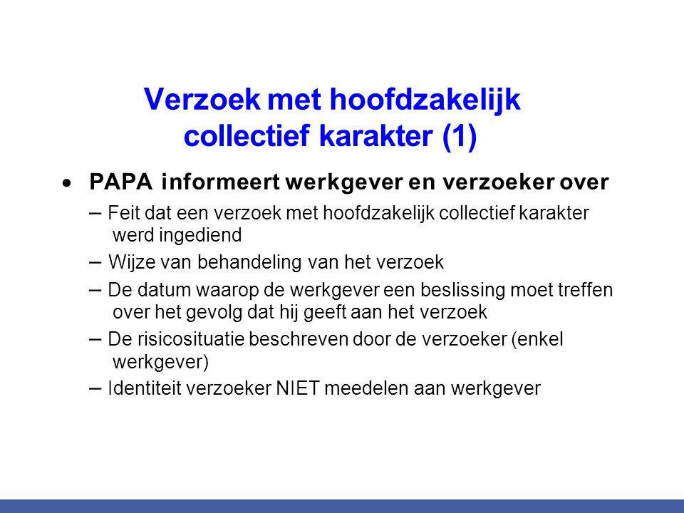  PAPA informeert werkgever en verzoeker over – Feit dat een verzoek met hoofdzakelijk collectief karakter werd ingediend – Wijze van behandeling van
