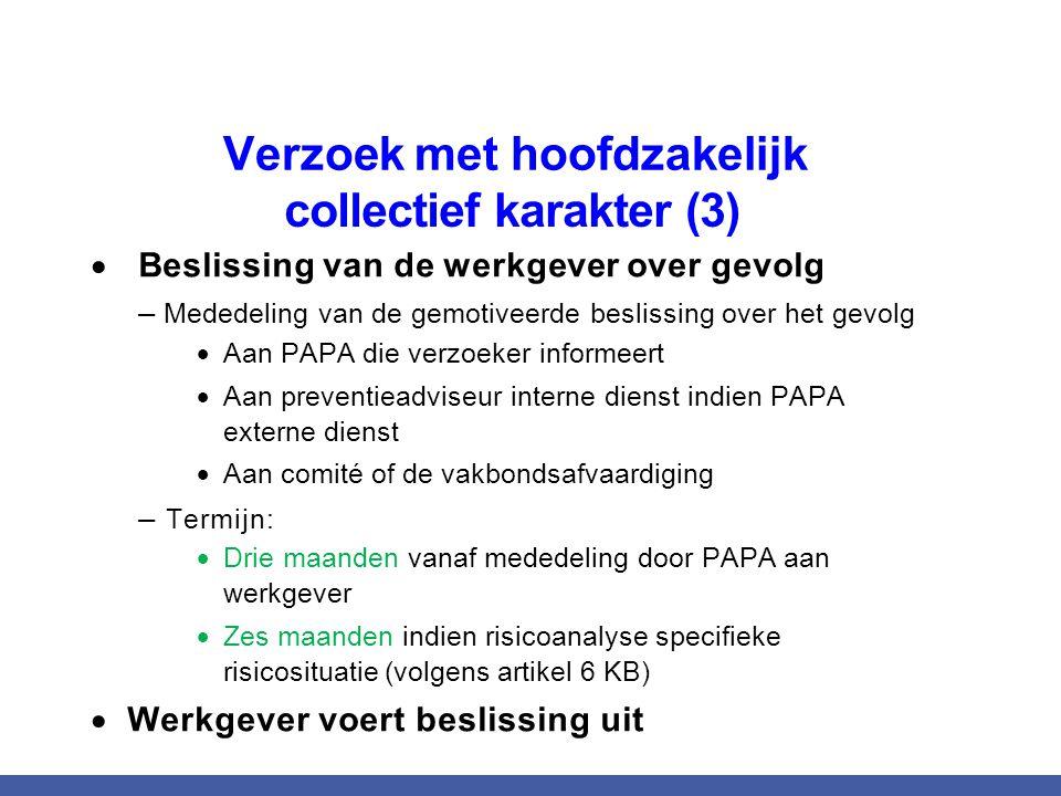  Beslissing van de werkgever over gevolg – Mededeling van de gemotiveerde beslissing over het gevolg  Aan PAPA die verzoeker informeert  Aan preven