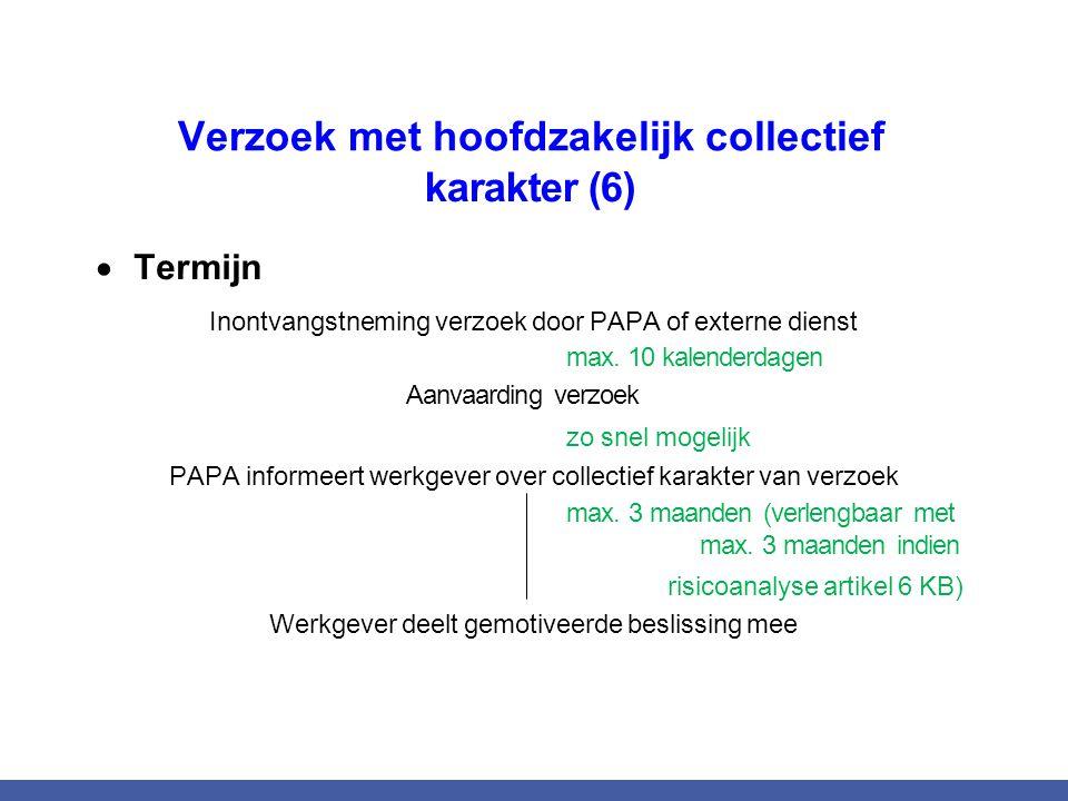 Verzoek met hoofdzakelijk collectief karakter (6)  Termijn Inontvangstneming verzoek door PAPA of externe dienst max. 10 kalenderdagen Aanvaarding ve