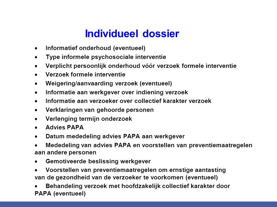 Individueel dossier  Informatief onderhoud (eventueel)  Type informele psychosociale interventie  Verplicht persoonlijk onderhoud vóór verzoek form
