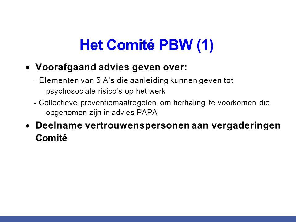 Het Comité PBW (1)  Voorafgaand advies geven over: - Elementen van 5 A's die aanleiding kunnen geven tot psychosociale risico's op het werk - Collectieve preventiemaatregelen om herhaling te voorkomen die opgenomen zijn in advies PAPA  Deelname vertrouwenspersonen aan vergaderingen Comité