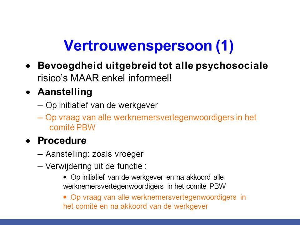 Vertrouwenspersoon (1)  Bevoegdheid uitgebreid tot alle psychosociale risico's MAAR enkel informeel!  Aanstelling – Op initiatief van de werkgever –