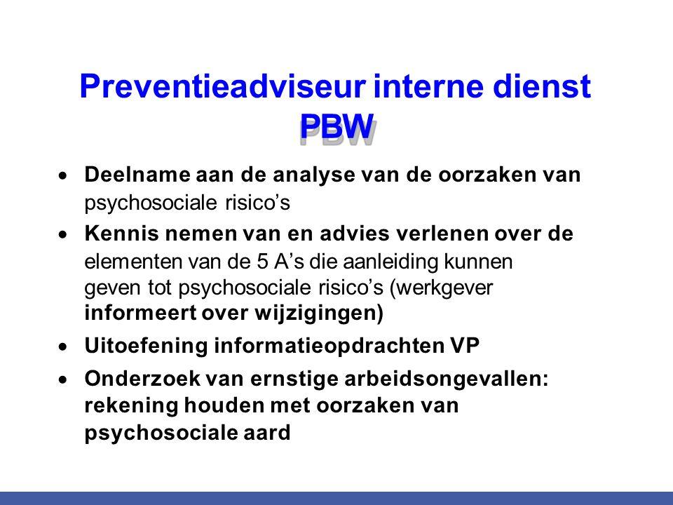 Preventieadviseur interne dienst PBW  Deelname aan de analyse van de oorzaken van psychosociale risico's  Kennis nemen van en advies verlenen over d