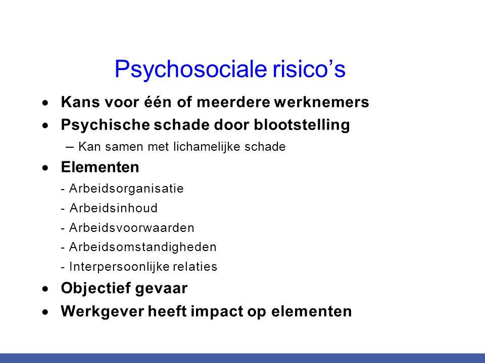 Psychosociale risico's  Kans voor één of meerdere werknemers  Psychische schade door blootstelling – Kan samen met lichamelijke schade  Elementen -