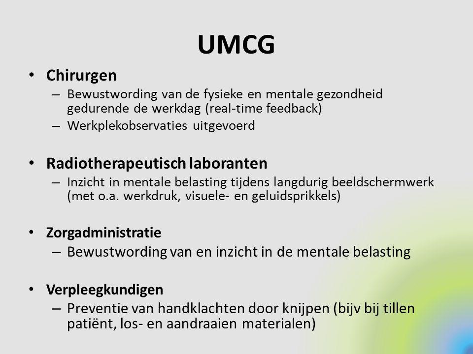 UMCG Chirurgen – Bewustwording van de fysieke en mentale gezondheid gedurende de werkdag (real-time feedback) – Werkplekobservaties uitgevoerd Radioth