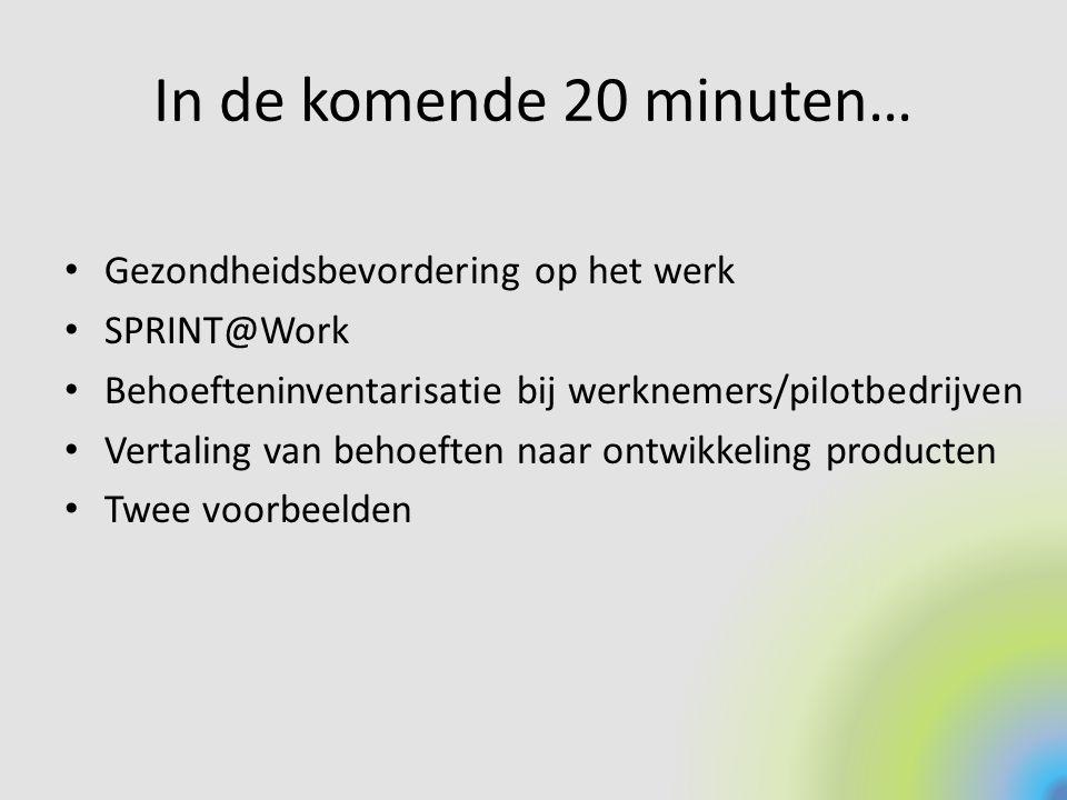 In de komende 20 minuten… Gezondheidsbevordering op het werk SPRINT@Work Behoefteninventarisatie bij werknemers/pilotbedrijven Vertaling van behoeften