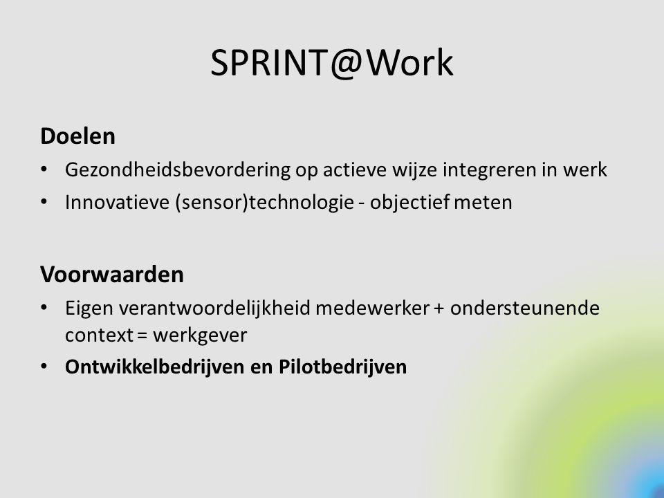 SPRINT@Work Doelen Gezondheidsbevordering op actieve wijze integreren in werk Innovatieve (sensor)technologie - objectief meten Voorwaarden Eigen vera