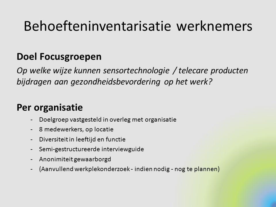 Behoefteninventarisatie werknemers Doel Focusgroepen Op welke wijze kunnen sensortechnologie / telecare producten bijdragen aan gezondheidsbevordering