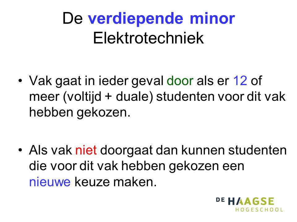 De verdiepende minor Elektrotechniek Vak gaat in ieder geval door als er 12 of meer (voltijd + duale) studenten voor dit vak hebben gekozen.