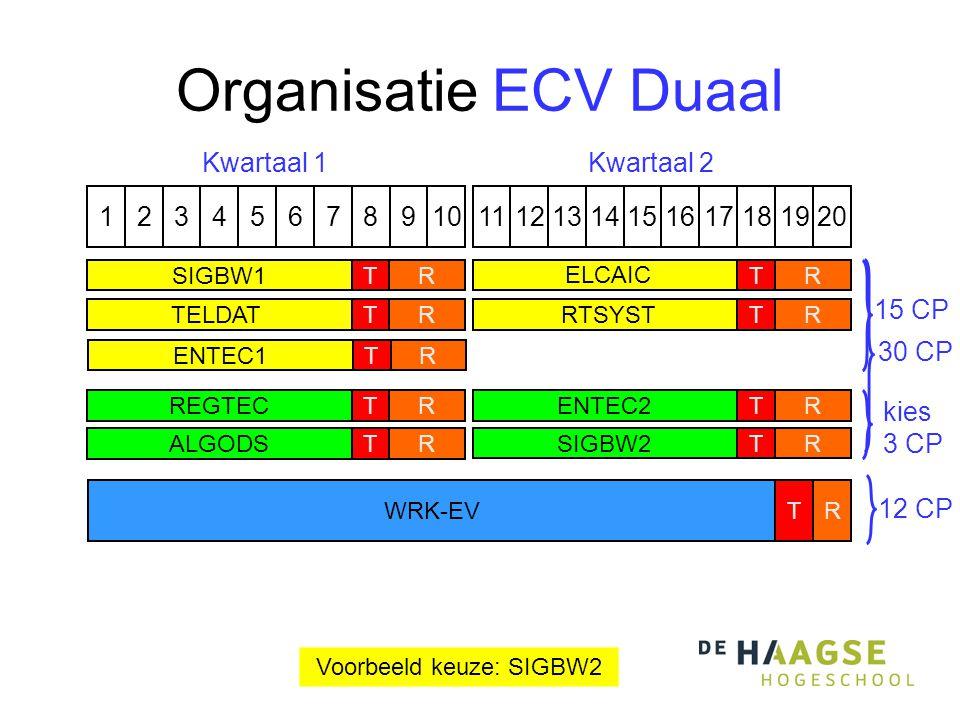 Organisatie ECV Duaal 1324576891110121315141617191820 Kwartaal 1Kwartaal 2 RREGTECT ALGODSTR RENTEC2TRSIGBW2T kies 3 CP Voorbeeld keuze: SIGBW2 TELDATTRRTSYSTTR SIGBW1TR ELCAIC TR ENTEC1TR 15 CP WRK-EVRT 30 CP 12 CP