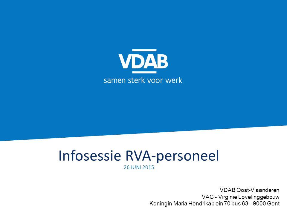 Infosessie RVA-personeel 26 JUNI 2015 VDAB Oost-Vlaanderen VAC - Virginie Lovelinggebouw Koningin Maria Hendrikaplein 70 bus 63 - 9000 Gent