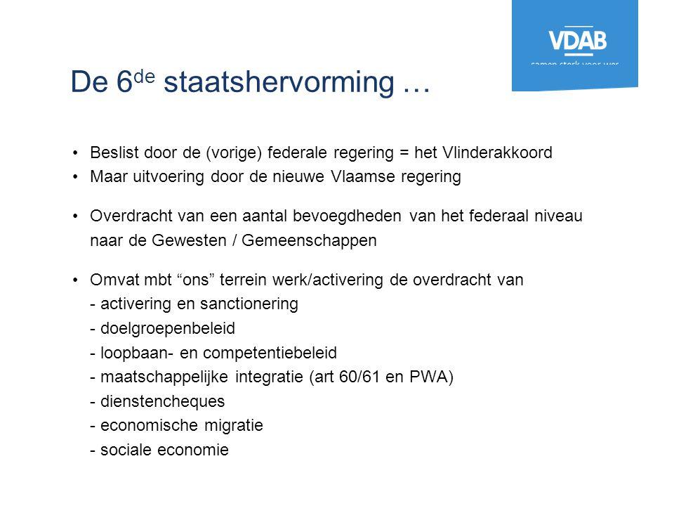 De 6 de staatshervorming … Beslist door de (vorige) federale regering = het Vlinderakkoord Maar uitvoering door de nieuwe Vlaamse regering Overdracht