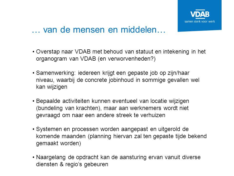 … van de mensen en middelen… Overstap naar VDAB met behoud van statuut en intekening in het organogram van VDAB (en verworvenheden?) Samenwerking: ied