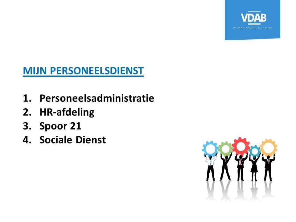 MIJN PERSONEELSDIENST 1.Personeelsadministratie 2.HR-afdeling 3.Spoor 21 4.Sociale Dienst