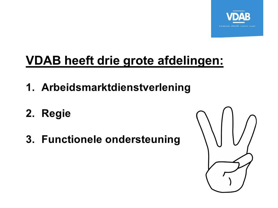 VDAB heeft drie grote afdelingen: 1.Arbeidsmarktdienstverlening 2.Regie 3.Functionele ondersteuning