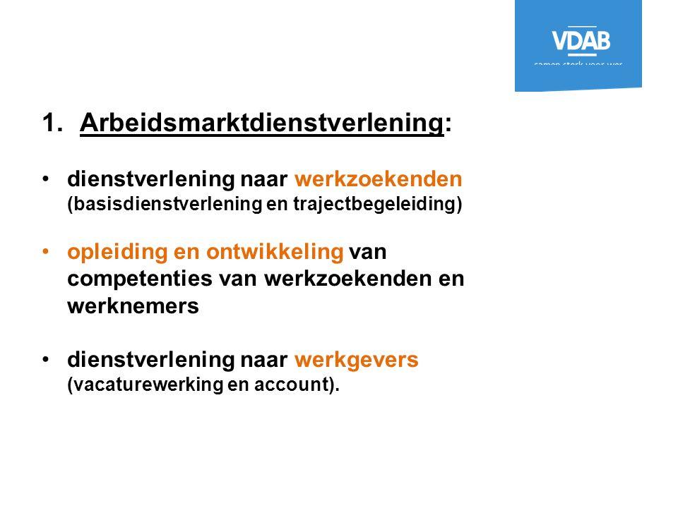 1.Arbeidsmarktdienstverlening: dienstverlening naar werkzoekenden (basisdienstverlening en trajectbegeleiding) opleiding en ontwikkeling van competent