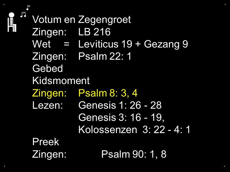 .... Votum en Zegengroet Zingen:LB 216 Wet = Leviticus 19 + Gezang 9 Zingen:Psalm 22: 1 Gebed Kidsmoment Zingen:Psalm 8: 3, 4 Lezen: Genesis 1: 26 - 2