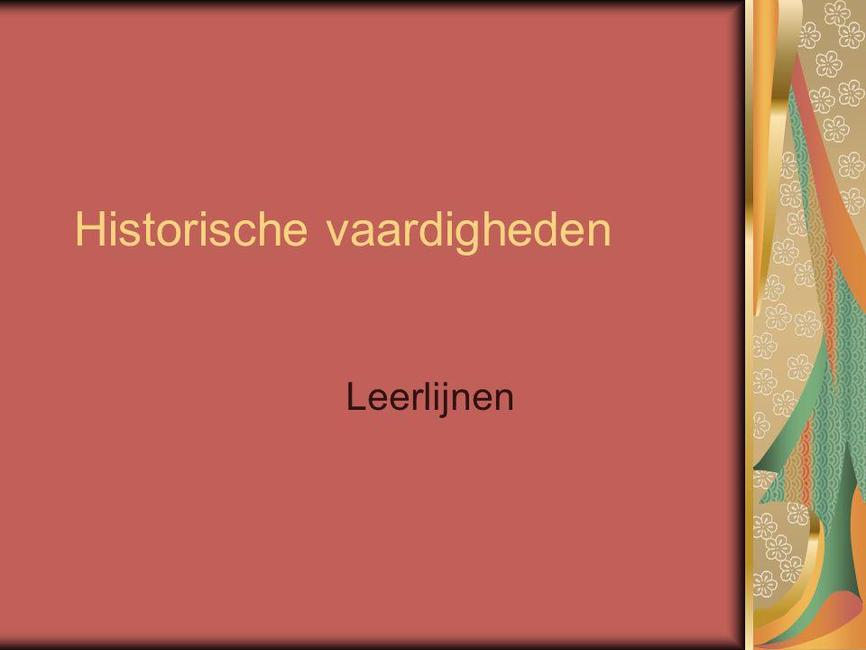 Historische vaardigheden Leerlijnen