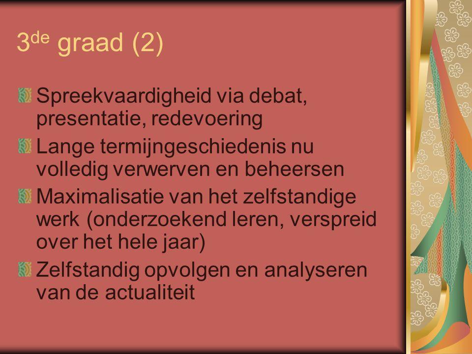3 de graad (2) Spreekvaardigheid via debat, presentatie, redevoering Lange termijngeschiedenis nu volledig verwerven en beheersen Maximalisatie van he