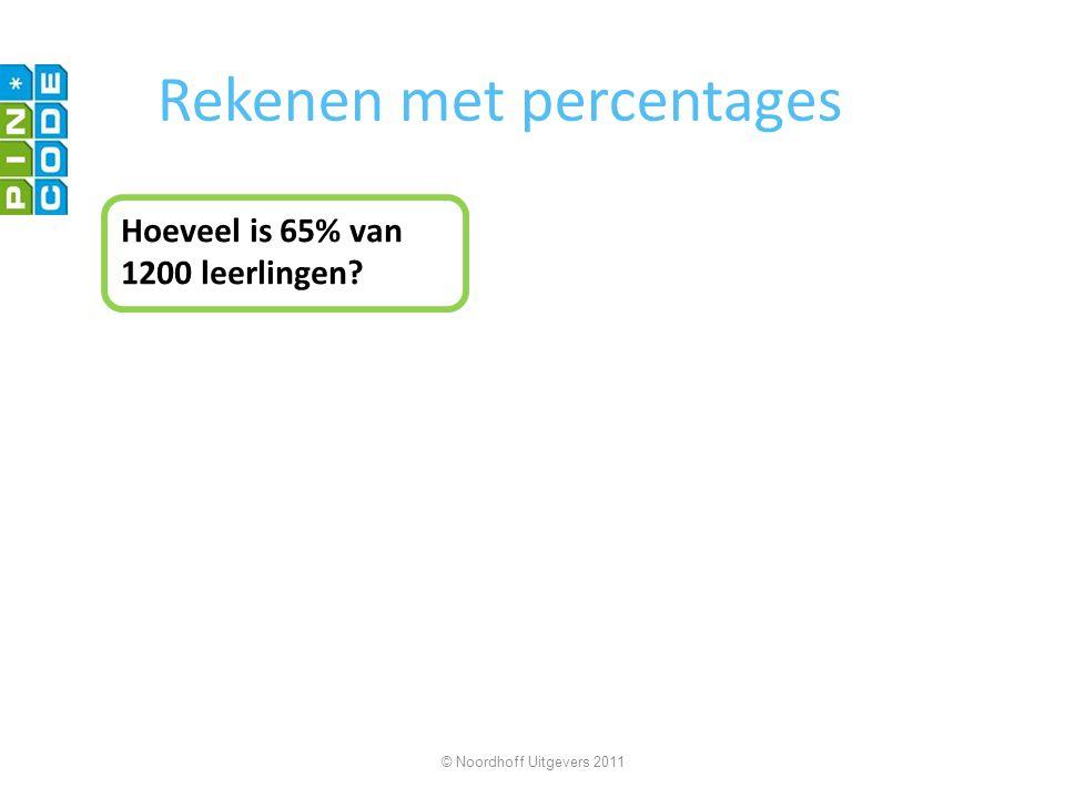 Rekenen met percentages Hoeveel is 65% van 1200 leerlingen? © Noordhoff Uitgevers 2011