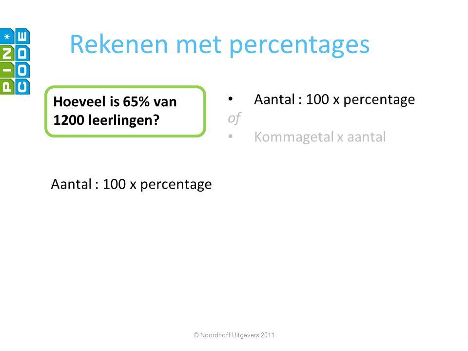 Rekenen met percentages Hoeveel is 65% van 1200 leerlingen? Aantal : 100 x percentage of Kommagetal x aantal Aantal : 100 x percentage © Noordhoff Uit