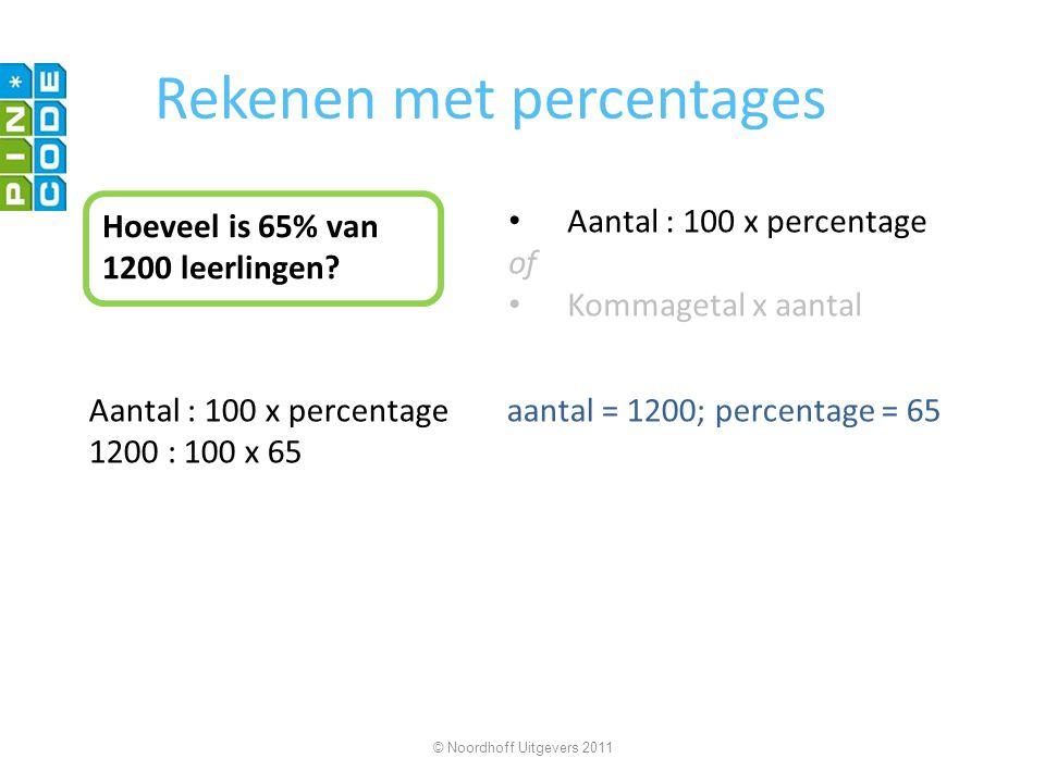 Rekenen met percentages Hoeveel is 65% van 1200 leerlingen? Aantal : 100 x percentage of Kommagetal x aantal Aantal : 100 x percentageaantal = 1200; p