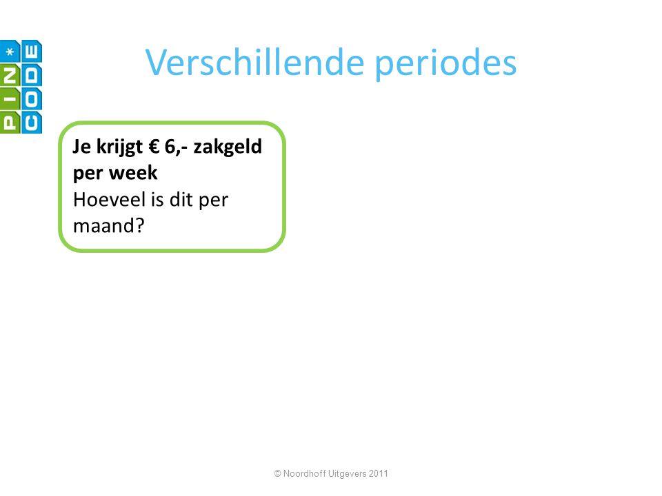 Verschillende periodes Je krijgt € 6,- zakgeld per week Hoeveel is dit per maand? © Noordhoff Uitgevers 2011