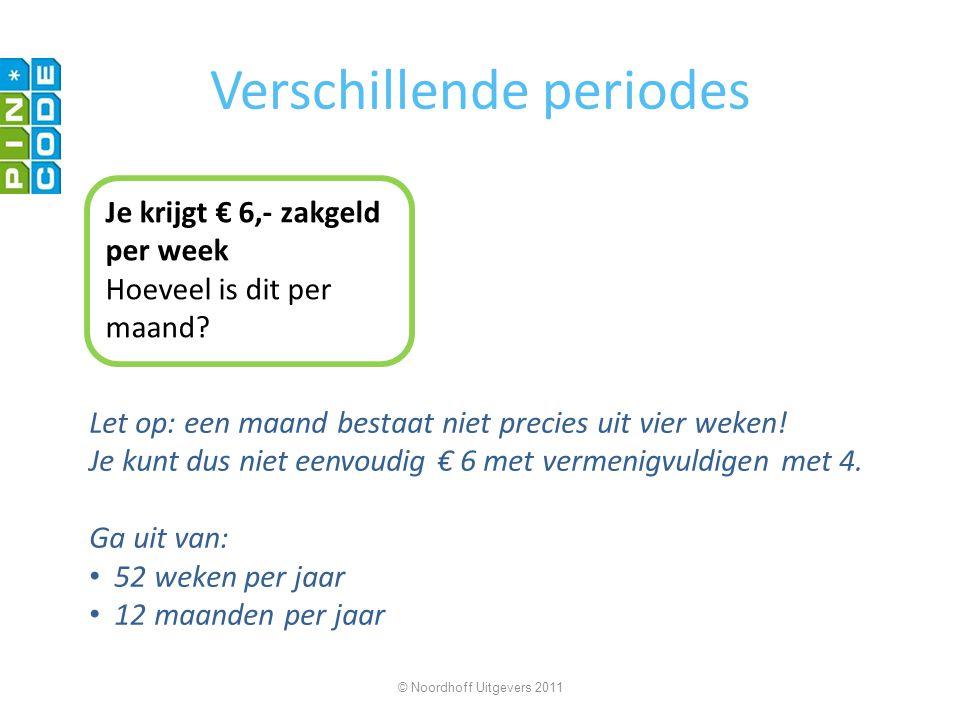 Verschillende periodes Je krijgt € 6,- zakgeld per week Hoeveel is dit per maand? Let op: een maand bestaat niet precies uit vier weken! Je kunt dus n