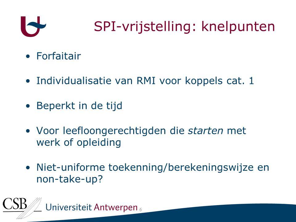De SPI-vrijstelling: knelpunten 6 Forfaitair Individualisatie van RMI voor koppels cat.
