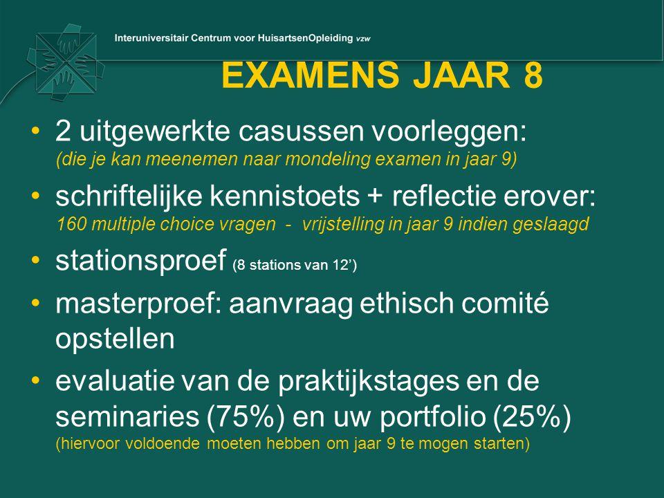 EXAMENS JAAR 8 2 uitgewerkte casussen voorleggen: (die je kan meenemen naar mondeling examen in jaar 9) schriftelijke kennistoets + reflectie erover:
