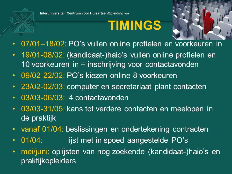 TIMINGS 07/01–18/02: PO's vullen online profielen en voorkeuren in 19/01-08/02: (kandidaat-)haio's vullen online profielen en 10 voorkeuren in + insch
