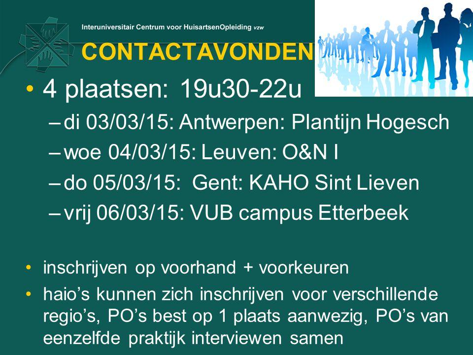 CONTACTAVONDEN 4 plaatsen: 19u30-22u –di 03/03/15: Antwerpen: Plantijn Hogesch –woe 04/03/15: Leuven: O&N I –do 05/03/15: Gent: KAHO Sint Lieven –vrij