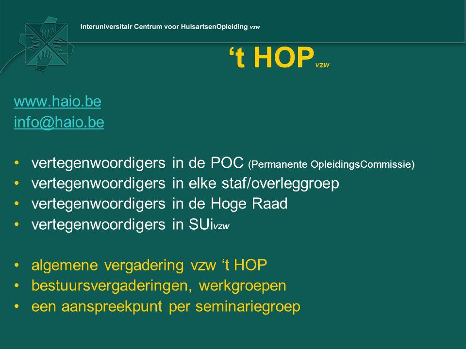 't HOP vzw www.haio.be info@haio.be vertegenwoordigers in de POC (Permanente OpleidingsCommissie) vertegenwoordigers in elke staf/overleggroep vertege