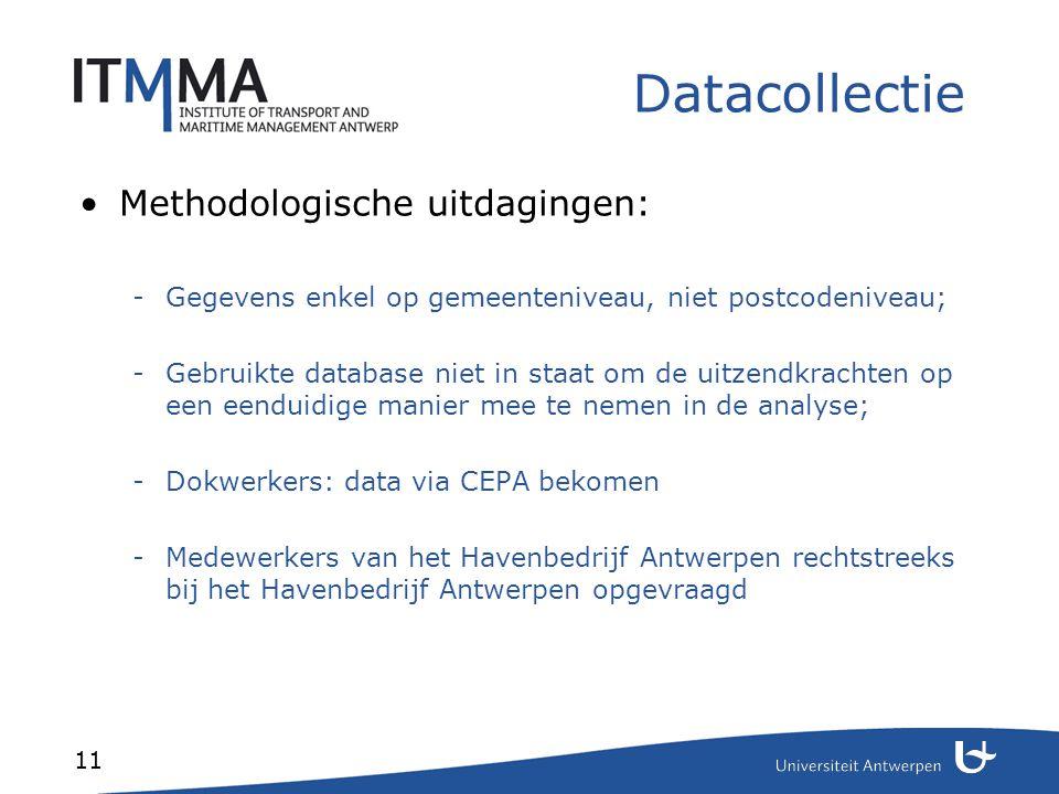 11 Datacollectie Methodologische uitdagingen: -Gegevens enkel op gemeenteniveau, niet postcodeniveau; -Gebruikte database niet in staat om de uitzendk
