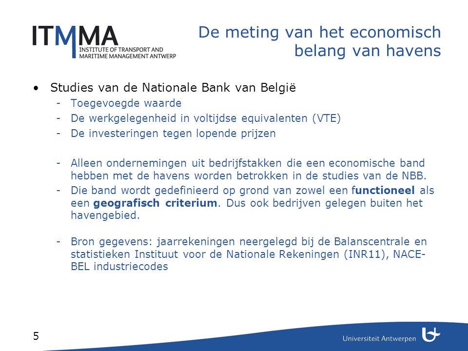 5 De meting van het economisch belang van havens Studies van de Nationale Bank van België -Toegevoegde waarde -De werkgelegenheid in voltijdse equival