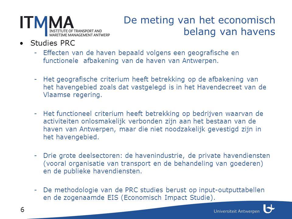 7 De meting van het economisch belang van havens Studie Coppens et al.
